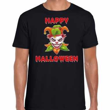 Originele happy halloween groene horror joker verkleed t shirt zwart heren carnavalskleding