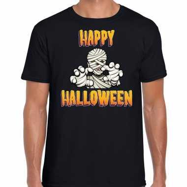 Originele happy halloween horror mummie verkleed t shirt zwart heren carnavalskleding