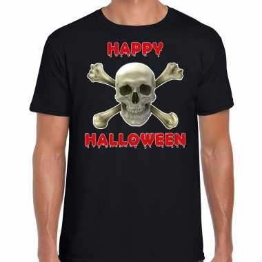 Originele happy halloween horror schedel verkleed t shirt zwart heren carnavalskleding