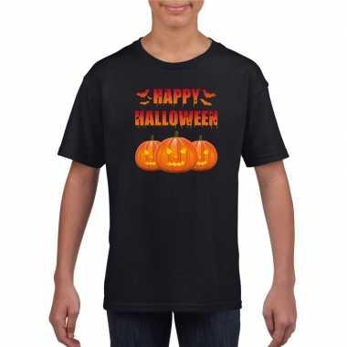 Originele happy halloween t shirt zwart kinderen carnavalskleding