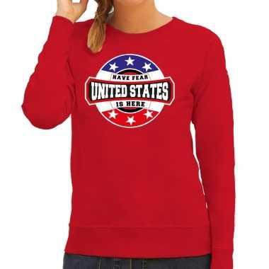 Originele have fear united states is here / amerika supporter sweater rood dames carnavalskleding