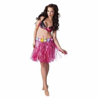 Originele hawaii rokje roze dames carnavalskleding