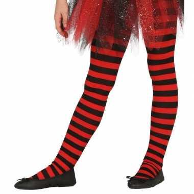 Originele heksen verkleedaccessoires panty maillot rood/zwart meisjes