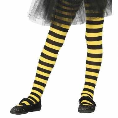 Originele heksen verkleedaccessoires panty maillot zwart/geel meisjes