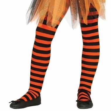 Originele heksen verkleedaccessoires panty maillot zwart/oranje meisj
