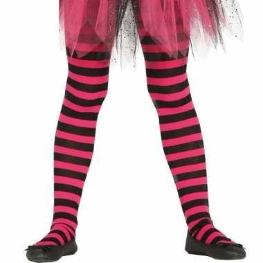 Originele heksen verkleedaccessoires panty maillot zwart/roze meisjes