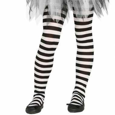 Originele heksen verkleedaccessoires panty maillot zwart/wit meisjes
