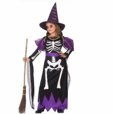 Originele heksen verkleedcarnavalskleding skelet meisjes