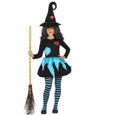 Originele heksen verkleedcarnavalskleding zwart/blauw kids