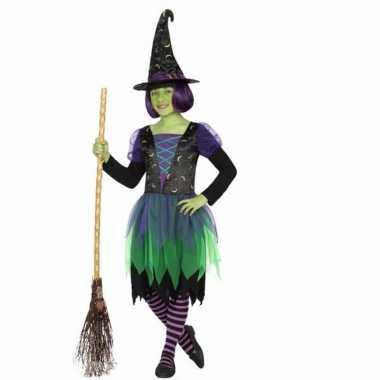 Originele heksen verkleedcarnavalskleding zwart/groen meisjes