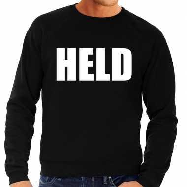 Originele held tekst sweater / trui zwart heren carnavalskleding