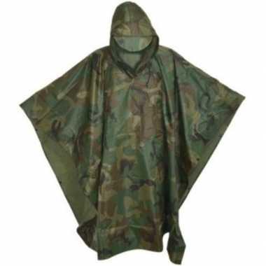 Originele herbruikbare camouflage regenponcho volwassenen one size ca