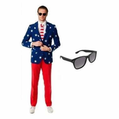 Originele heren carnavalskleding amerikaanse vlag print maat (xl) gra