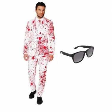 Originele heren carnavalskleding bloed print maat (m) gratis zonnebri