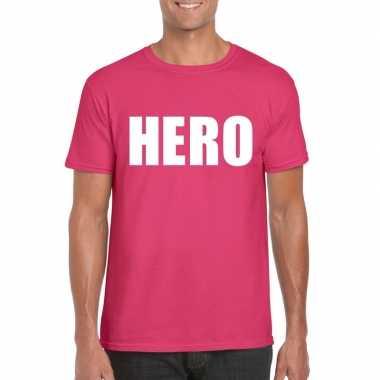 Originele hero tekst t shirt roze heren carnavalskleding
