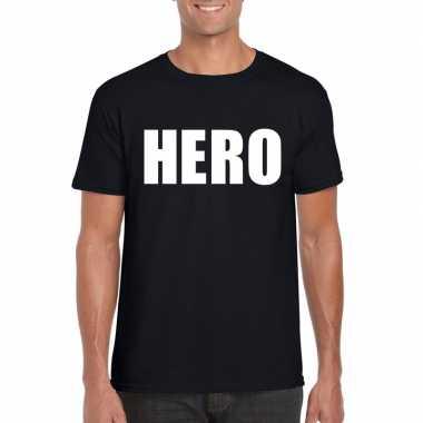 Originele hero tekst t shirt zwart heren carnavalskleding