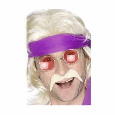 Originele hippie accessoires verkleedset snor bril carnavalskleding