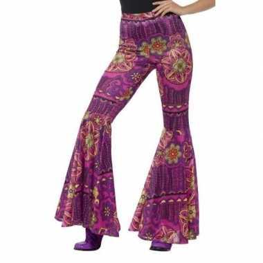 Originele hippie broek paars/roze dames carnavalskleding