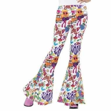 Originele hippie broek wit love dames carnavalskleding
