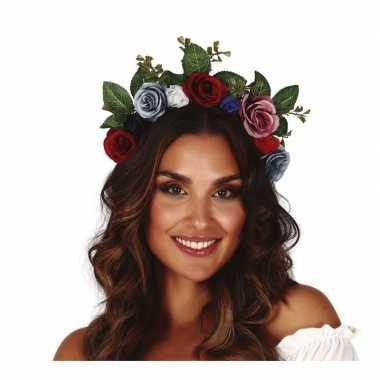 Originele hippie/flower power gekleurde verkleed bloemen diadeem/tiara carnavalskleding