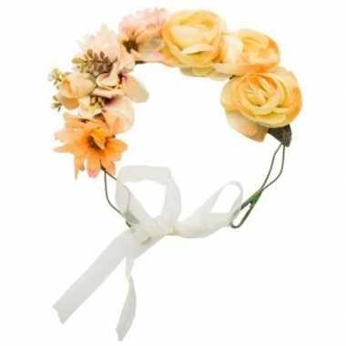 Originele hippie/flower power oranje verkleed bloemen hoofdband carna