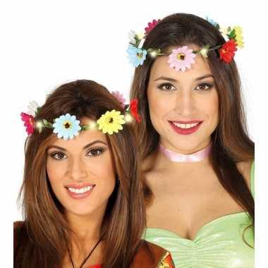 Originele hippie/flower power verkleed bloemen hoofd krans dames carn
