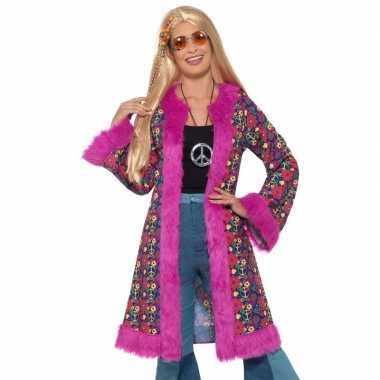 Originele hippie peace jas dames carnavalskleding