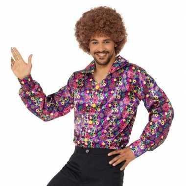 Originele hippie peace overhemd heren carnavalskleding