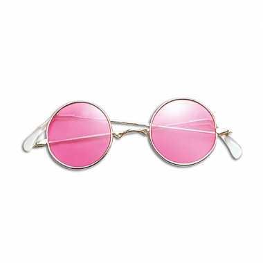 Originele hippie verkleed bril roze carnavalskleding