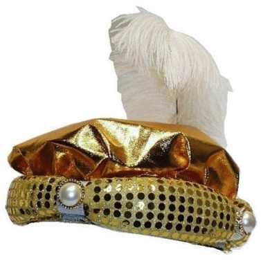 Originele  Hoed Sultan goud pluim parel carnavalskleding
