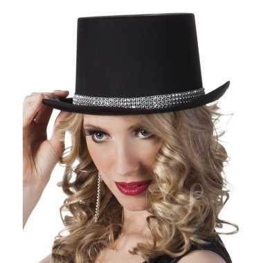 Originele hoge hoed zwart steentjes dames carnavalskleding