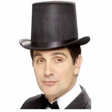 Originele hoge hoed zwart vilt heren carnavalskleding