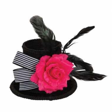 Originele hoge zwarte mini hoedje roos veren clip dames carnavalskled