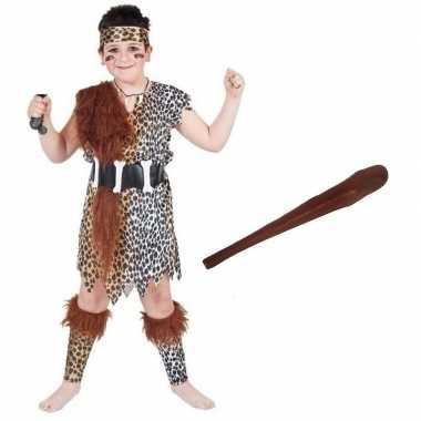 Originele holbewoner carnavalskleding maat m knots kinderen