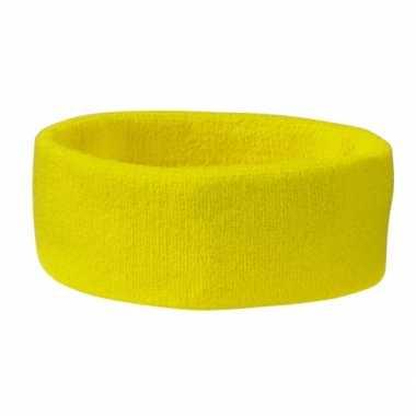 Originele hoofd zweetbandjes sport geelkleurig carnavalskleding