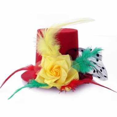 Originele hoog mini hoedje clip rood/geel/groen dames carnavalskledin