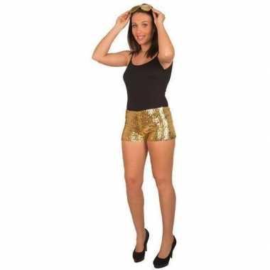 Originele hotpants pailletten goud dames carnavalskleding