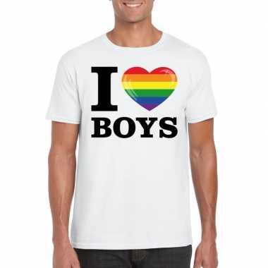 Originele i love boys regenboog t shirt wit heren carnavalskleding