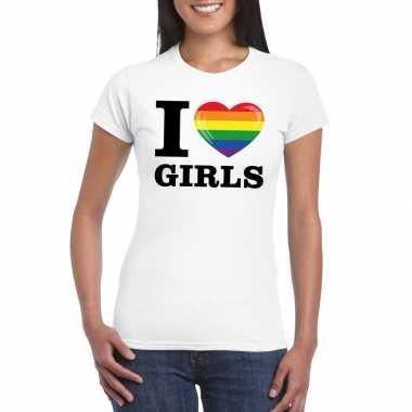 Originele i love girls regenboog t shirt wit dames carnavalskleding
