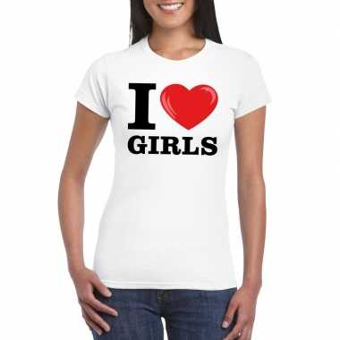 Originele i love girls t shirt wit dames carnavalskleding