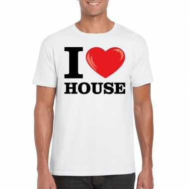 Originele i love house t shirt wit heren carnavalskleding