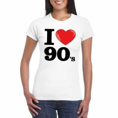 Originele i love nineties t shirt wit dames carnavalskleding