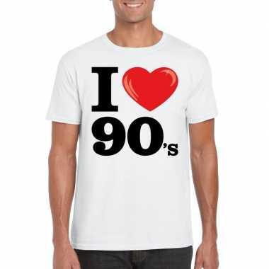 Originele i love nineties t shirt wit heren carnavalskleding