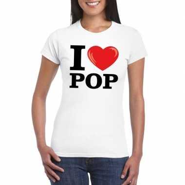 Originele i love pop t shirt wit dames carnavalskleding
