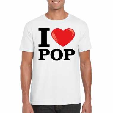 Originele i love pop t shirt wit heren carnavalskleding
