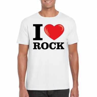 Originele i love rock t shirt wit heren carnavalskleding