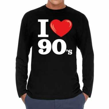 Originele i love s / nineties long sleeve t shirt zwart heren carnava