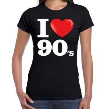 Originele i love s / nineties t shirt zwart dames carnavalskleding
