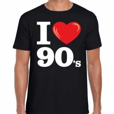Originele i love s / nineties t shirt zwart heren carnavalskleding