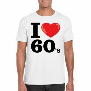 Originele i love sixties t shirt wit heren carnavalskleding